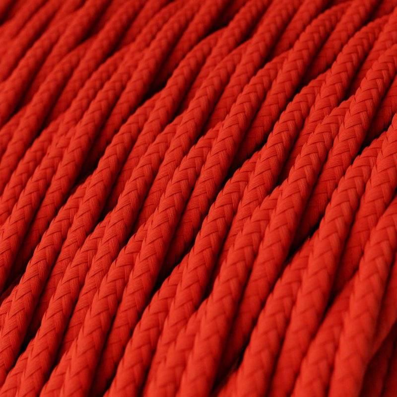 Fil Électrique Torsadé Gaine De Tissu De Couleur Effet Soie Tissu Uni Rouge TM09