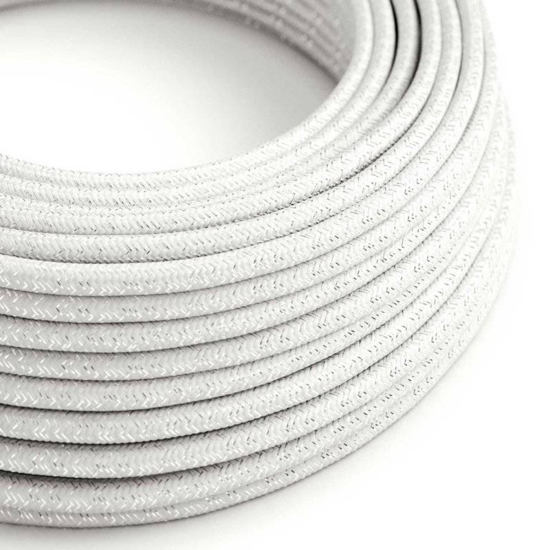 Fil Électrique Rond Gaine De Tissu De Couleur Effet Soie Tissu Uni Paillettes Blanc RL01