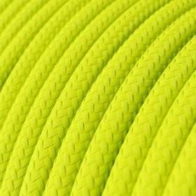 Fil Électrique Rond Gaine De Tissu De Couleur Effet Soie Tissu Uni Jaune Fluo RF10