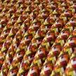 Fil Électrique Rond Gaine De Tissu De Couleur Effet Soie RX01 Pixel Orange