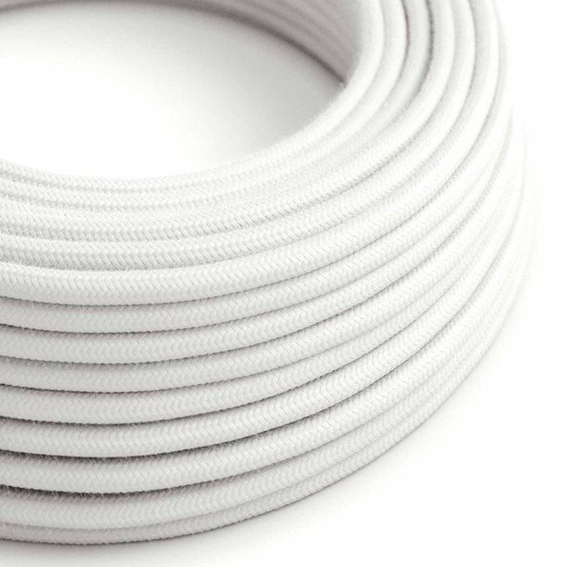 Fil Électrique Rond Gaine De Tissu De Couleur Coton Tissu Uni Blanc RC01