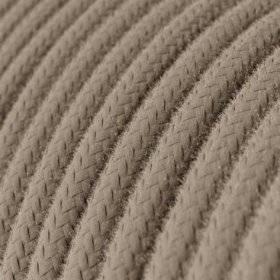 Fil Électrique Rond Gaine De Tissu De Couleur Coton Tissu Uni Tourterelle RC43