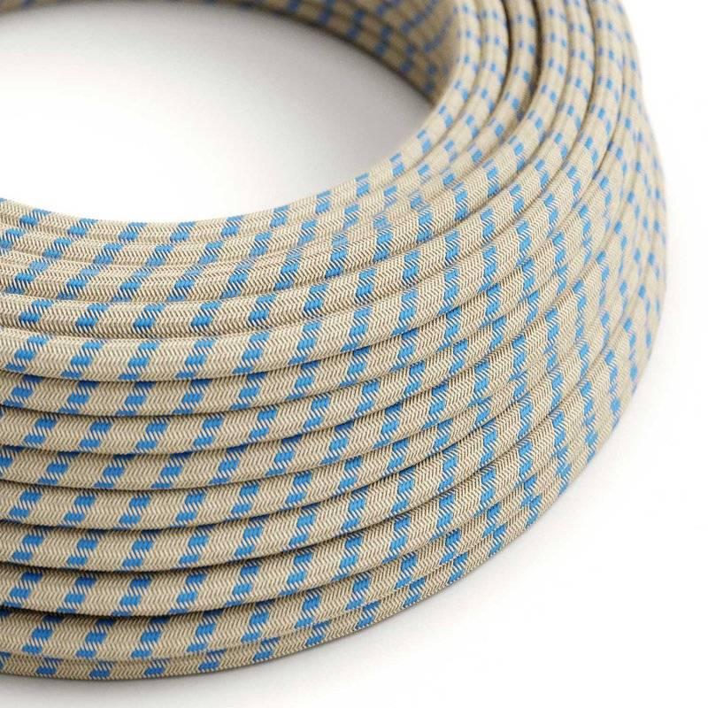 Fil Électrique Rond Gaine De Tissu De Couleur Coton Stripes Bleu Steward et lin Naturel RD55