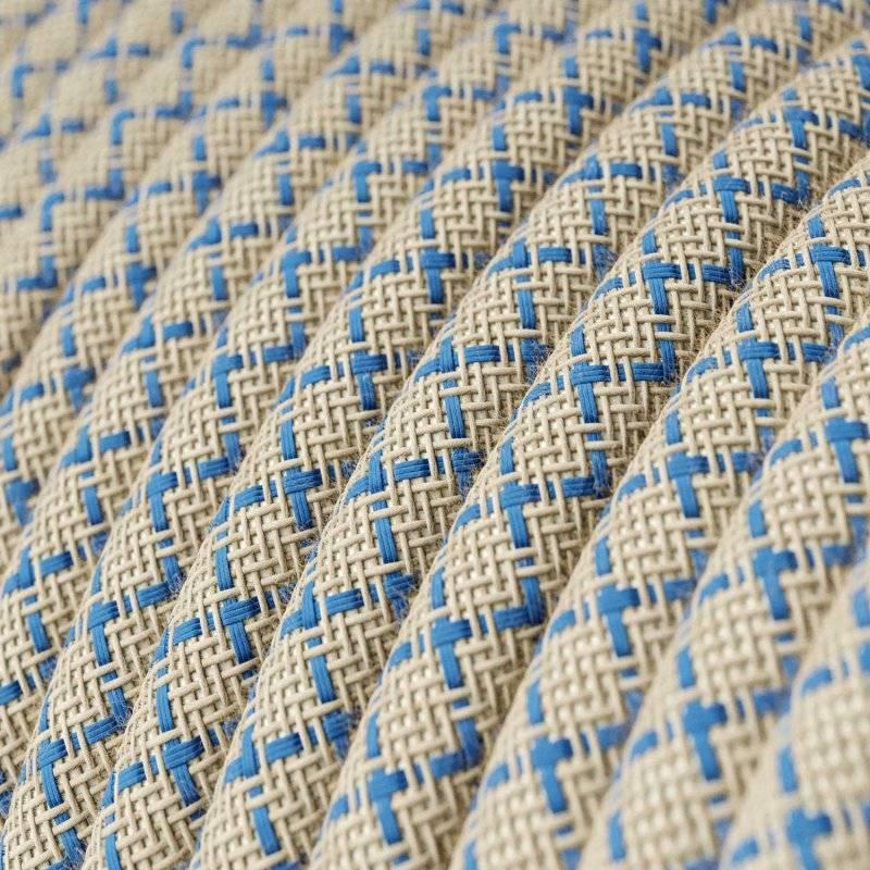 Fil Électrique Rond Gaine De Tissu De Couleur Coton Losange Bleu Steward et lin Naturel RD65