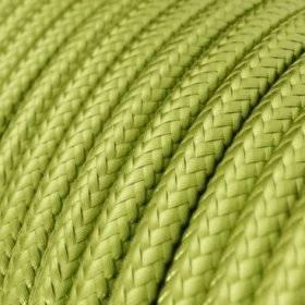 Fil Électrique Rond Gaine De Tissu Effet Soie Tissu Uni Kiwi RM32