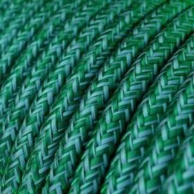 Fil Électrique Rond Gaine De Tissu Effet Soie Tissu Uni Émeraude RM33