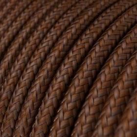 Fil Électrique Rond Gaine De Tissu Effet Soie Tissu Uni Rouille RM36