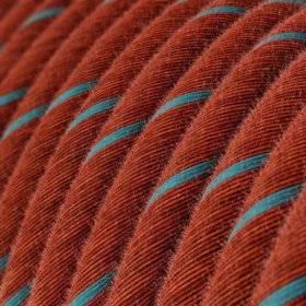 Câble Vertigo rond avec tissage en Coton Brique et Bleu Ciel ERC36