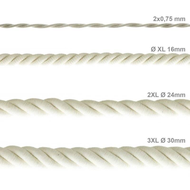Corde 2XL, câble électrique 3x0,75. Revêtement en coton brut. Diamètre 24mm.