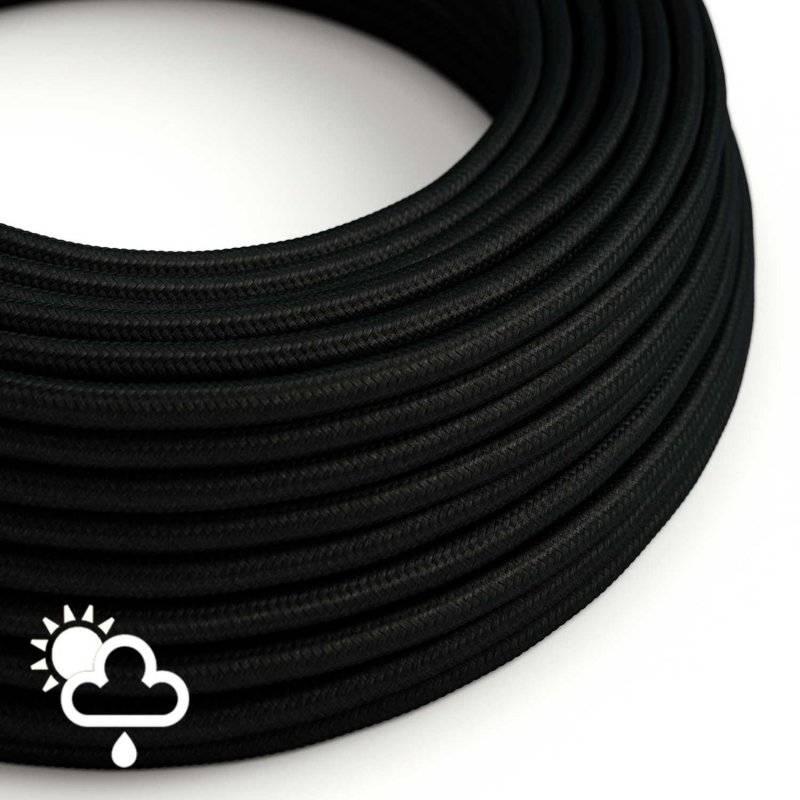 Câble pour l'extérieur Gaine De Tissu De Couleur Effet Soie Tissu Uni Noir SM04