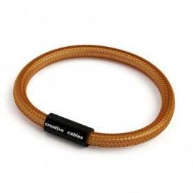 Bracelet avec fermoir magnétique noir mat et câble RM22 (effet soie tissu uni Whiskey)