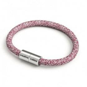 Bracelet avec fermoir magnétique argent mat et câble RS83 (Tweed Bordeaux, Rouge, Lin Naturel et Finition Paillettes)