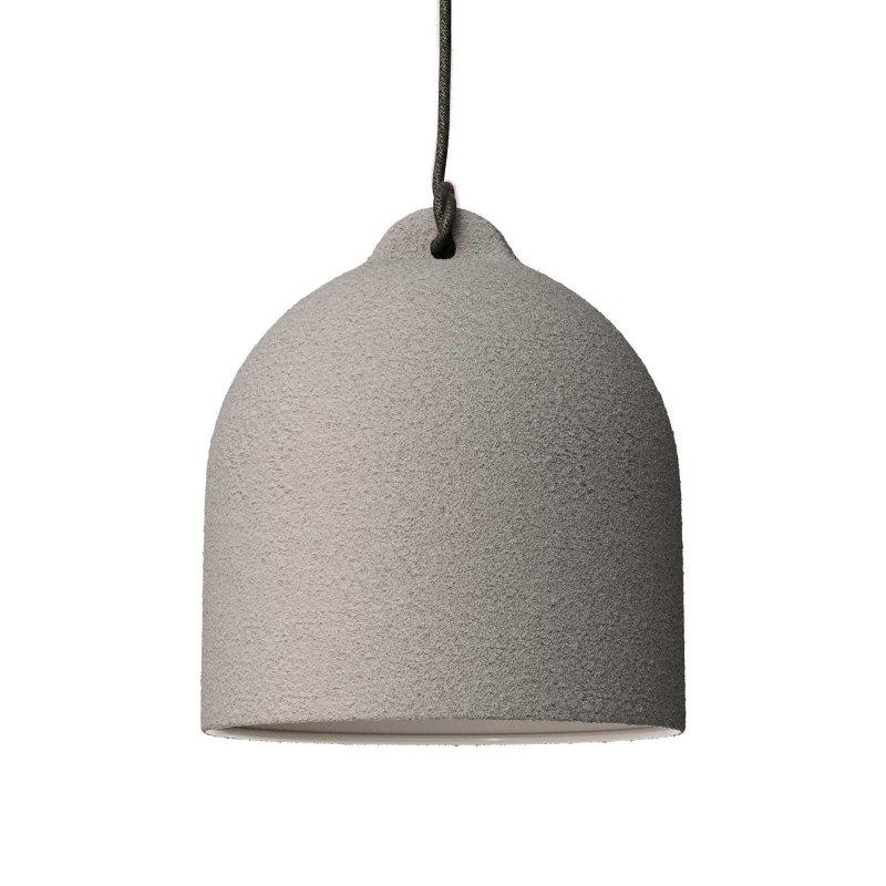 Suspension fabriquée en Italie avec câble textile, abat-jour Cloche M en céramique