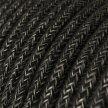 Suspension fabriquée en Italie avec câble textile, abat-jour Cloche XL en céramque