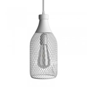 Suspension fabriquée en Italie avec câble textile, abat-jour bouteille Jéroboam et finition en métal