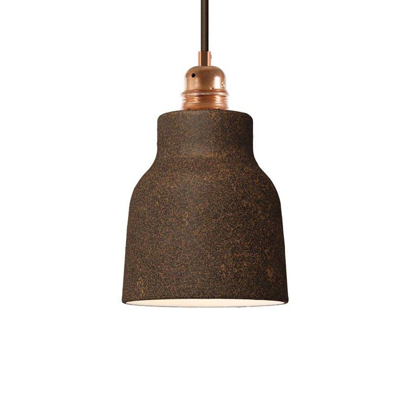 Suspension fabriquée en Italie avec câble textile, abat-jour Vase en céramique et finition en métal
