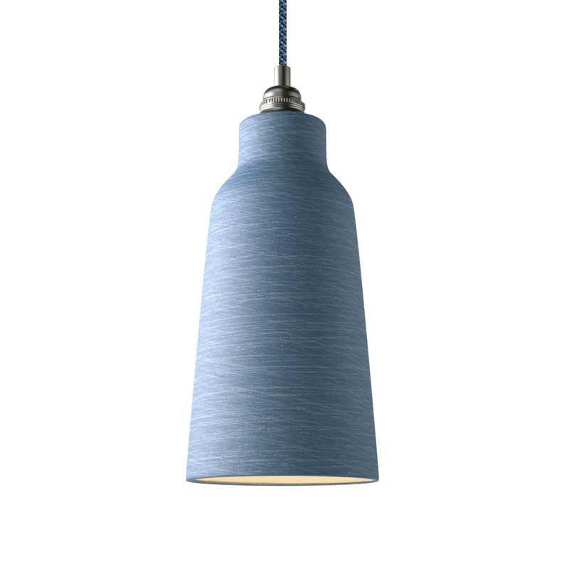 Suspension fabriquée en Italie avec câble textile, abat-jour Bouteille en céramique et finition en métal