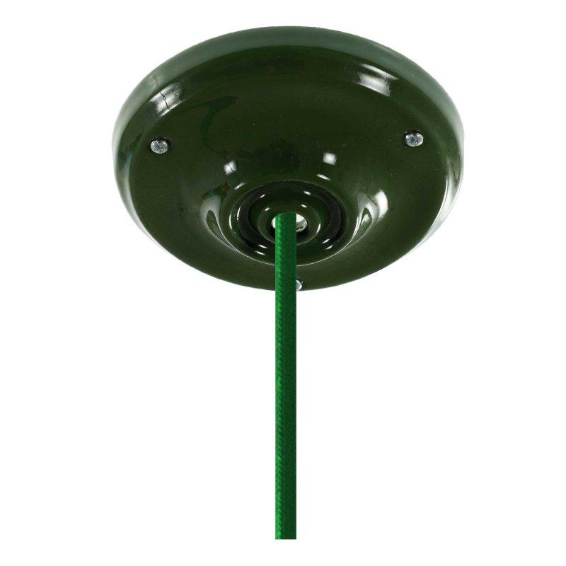 Suspension fabriquée en Italie avec cable textile et finition porcelaine colorée