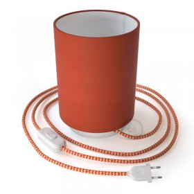 Lampe Posaluce en métal avec abat-jour Cilindro Cinette Orange avec câble textile, interrupteur et prise bipolaire