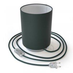 Lampe Posaluce en métal avec abat-jour Cilindro Cinette pétrole, avec câble textile, interrupteur et prise bipolaire