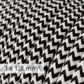 Fil Électrique De Large Section 3x1,50 Rond - Tissu Effet Soie Noir ZigZag RZ04