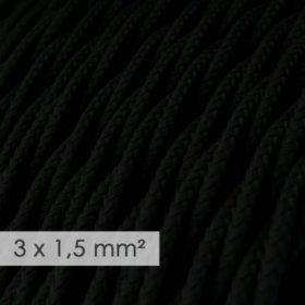 Fil Électrique De Large Section 3x1,50 Torsadé - Tissu Effet Soie Noir TM04