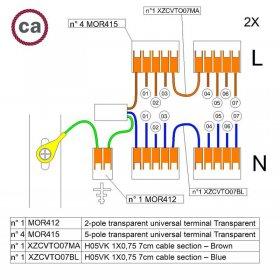 Kit de connexion WAGO compatible avec câble 2x pour Rosace à 7 trous