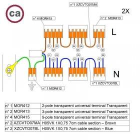 Kit de connexion WAGO compatible avec câble 2x pour Rosace à 8 trous