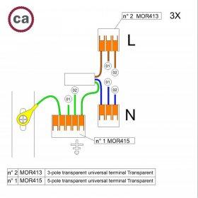 Kit de connexion WAGO compatible avec câble 3x pour Rosace à 2 trous