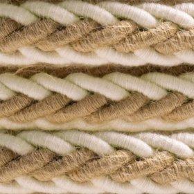 Cordon tressé en jute et coton brut blanc 2XL, câble électrique 2x0,75. Diamètre 24mm