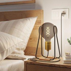 Taché Elegant, lampe de table avec câble textile, interrupteur et fiche bipolaire