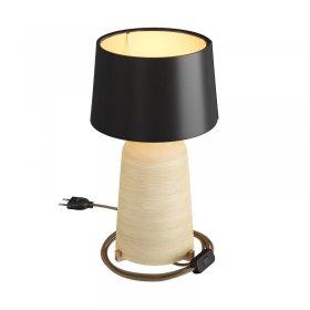Lampe de table Bottiglia en céramique avec abat-jour Athena, câble textile, interrupteur et prise bipolaire