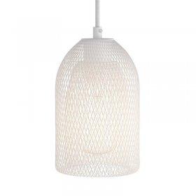 Suspension fabriquée en Italie avec câble textile, abat-jour Ghostbell et finition en métal