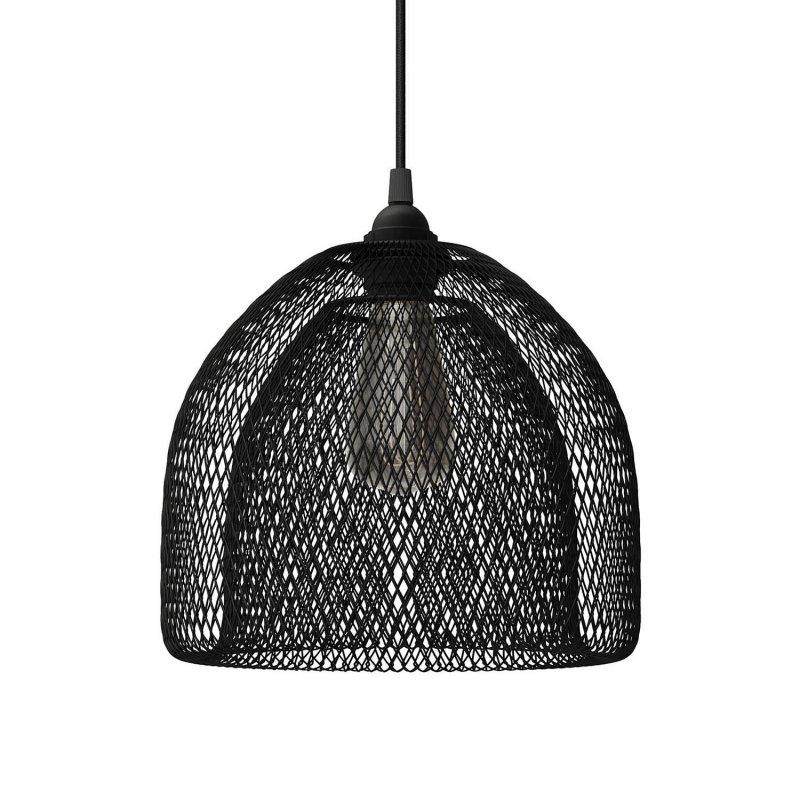 Suspension fabriquée en Italie avec câble textile, abat-jour Ghostbell XL et finition en métal