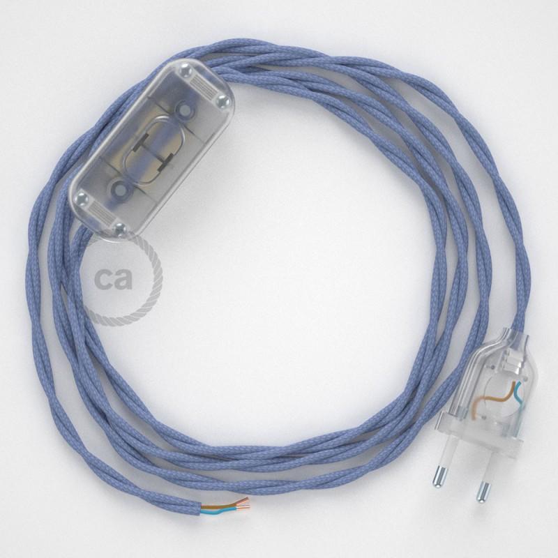 Cordon pour lampe, câble TM07 Effet Soie Lilas 1,80 m. Choisissez la couleur de la fiche et de l'interrupteur!