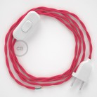 Cordon pour lampe, câble TM08 Effet Soie Fuchsia 1,80 m. Choisissez la couleur de la fiche et de l'interrupteur!