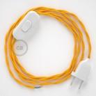 Cordon pour lampe, câble TM10 Effet Soie Jaune 1,80 m. Choisissez la couleur de la fiche et de l'interrupteur!