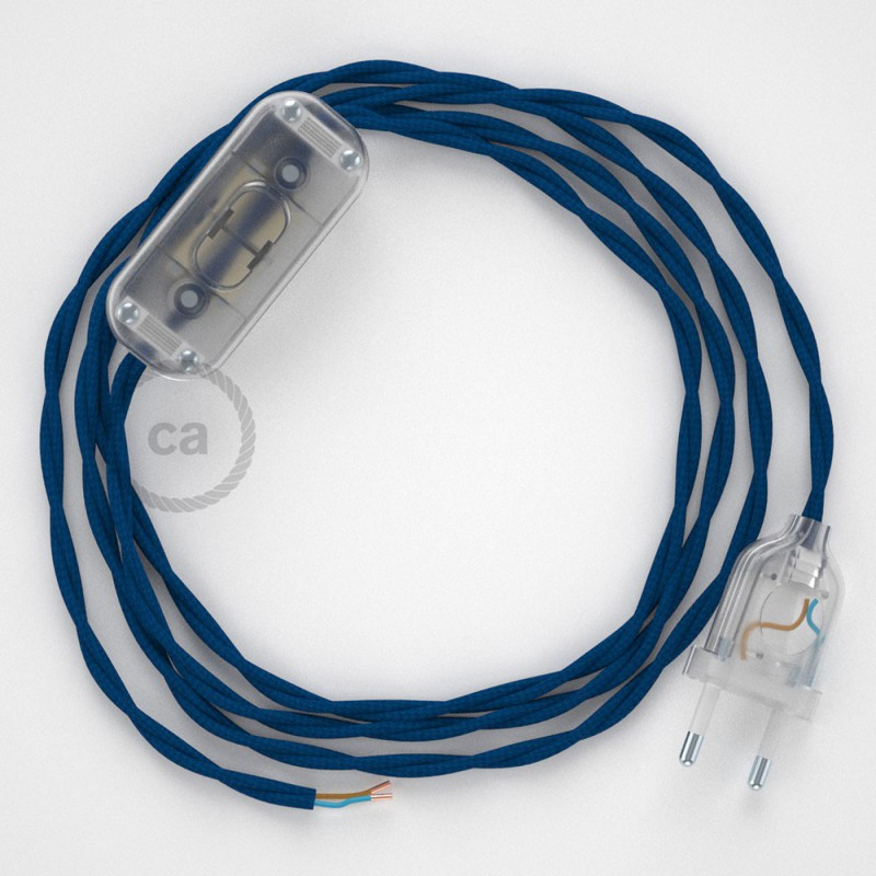 Cordon pour lampe, câble TM12 Effet Soie Bleu 1,80 m. Choisissez la couleur de la fiche et de l'interrupteur!