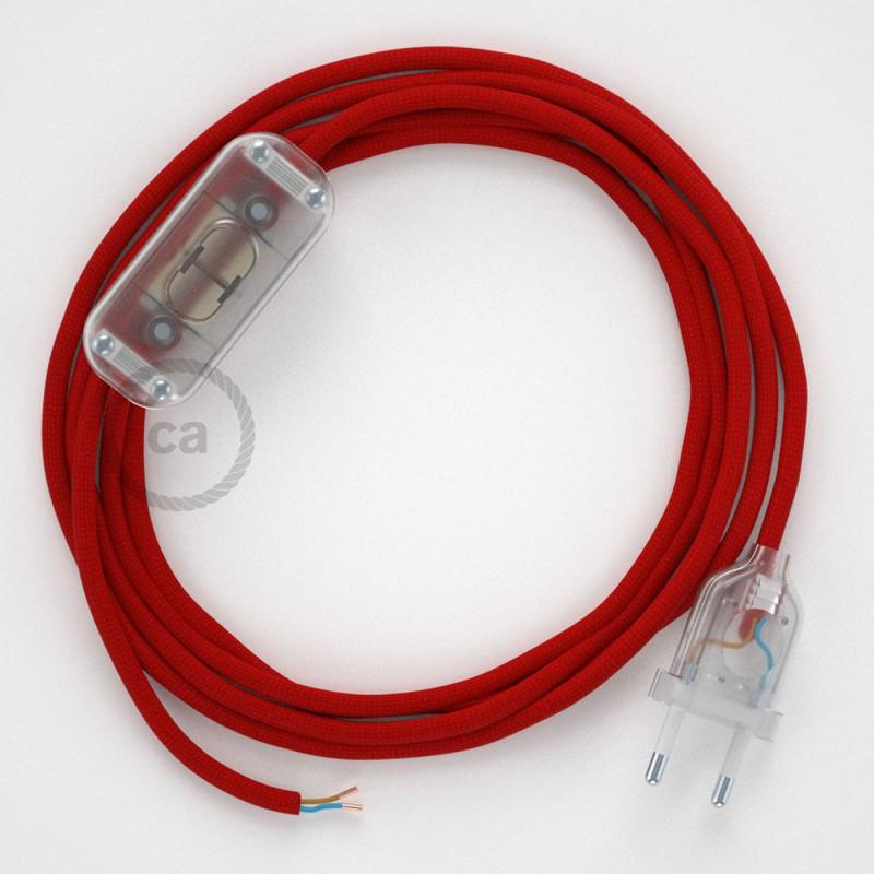 Cordon pour lampe, câble RM09 Effet Soie Rouge 1,80 m. Choisissez la couleur de la fiche et de l'interrupteur!