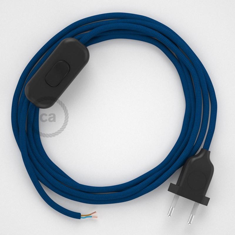 Cordon pour lampe, câble RM12 Effet Soie Bleu 1,80 m. Choisissez la couleur de la fiche et de l'interrupteur!