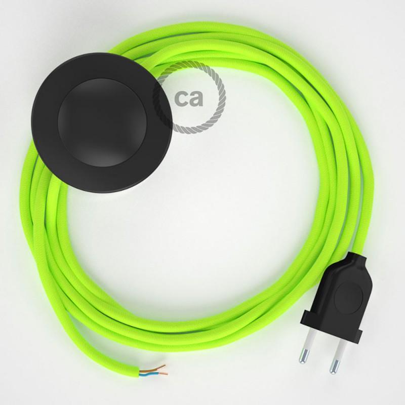 Cordon pour lampadaire, câble RF10 Effet Soie Jaune Fluo 3 m. Choisissez la couleur de la fiche et de l'interrupteur!
