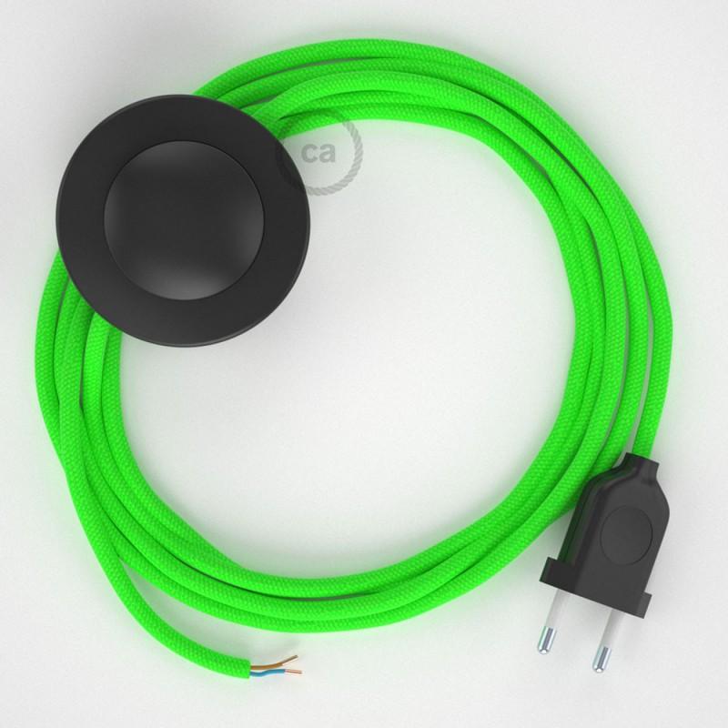 Cordon pour lampadaire, câble RF06 Effet Soie Vert Fluo 3 m. Choisissez la couleur de la fiche et de l'interrupteur!