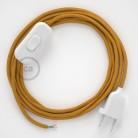 Cordon pour lampe, câble RM05 Effet Soie Doré 1,80 m. Choisissez la couleur de la fiche et de l'interrupteur!