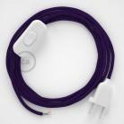 Cordon pour lampe, câble RM14 Effet Soie Violet 1,80 m. Choisissez la couleur de la fiche et de l'interrupteur!