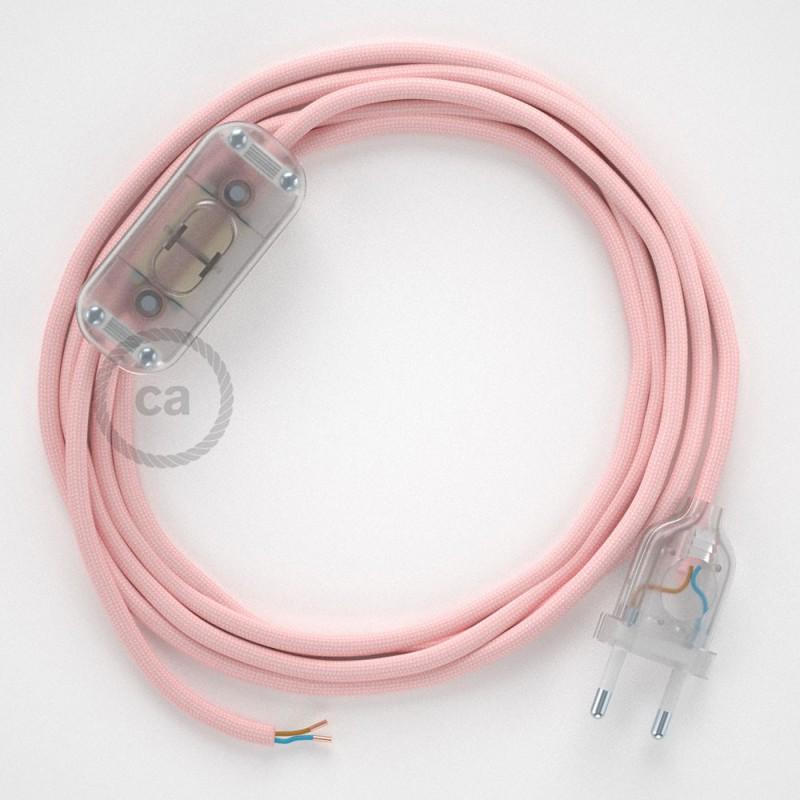 Cordon pour lampe, câble RM16 Effet Soie Rose Baby 1,80 m. Choisissez la couleur de la fiche et de l'interrupteur!