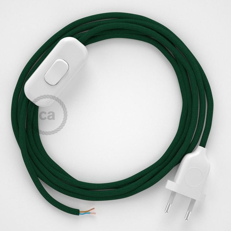 Cordon pour lampe, câble RM21 Effet Soie Vert Foncé 1,80 m. Choisissez la couleur de la fiche et de l'interrupteur!
