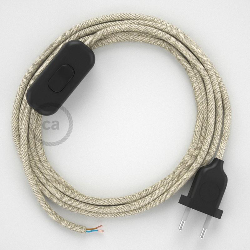 Cordon pour lampe, câble RN01 Lin Naturel Neutre 1,80 m. Choisissez la couleur de la fiche et de l'interrupteur!