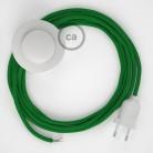 Cordon pour lampadaire, câble RM06 Effet Soie Vert 3 m. Choisissez la couleur de la fiche et de l'interrupteur!