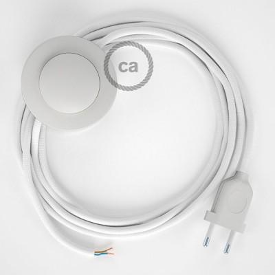 Cordon pour lampadaire, câble RM01 Effet Soie Blanc 3 m. Choisissez la couleur de la fiche et de l'interrupteur!