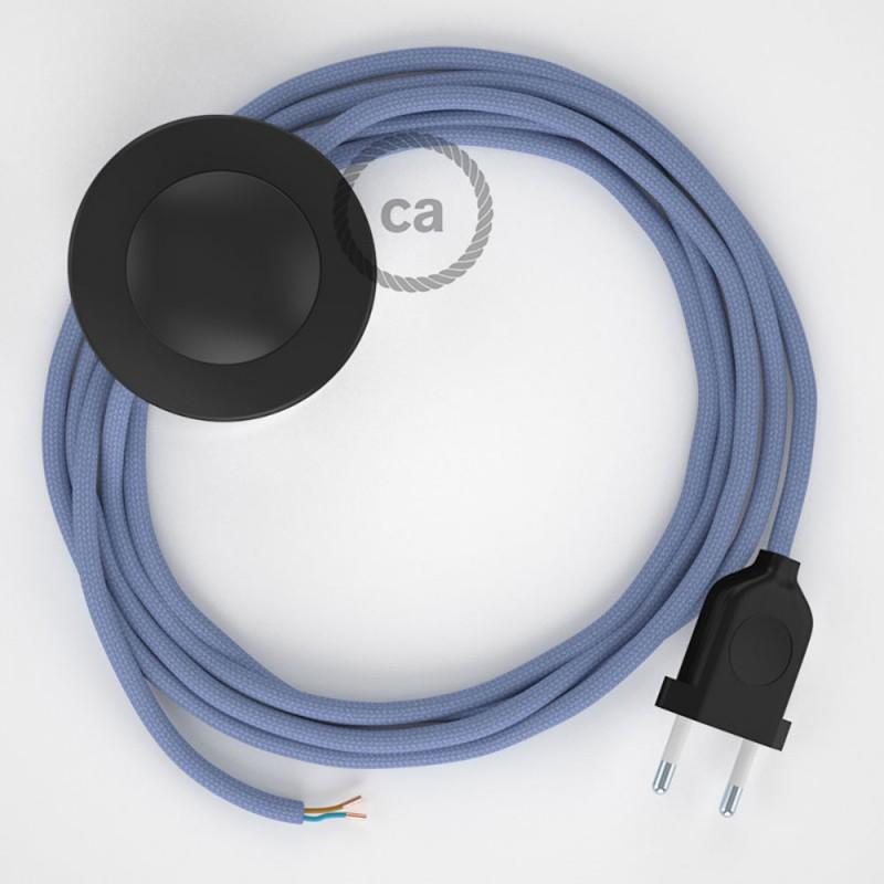 Cordon pour lampadaire, câble RM07 Effet Soie Lilas 3 m. Choisissez la couleur de la fiche et de l'interrupteur!